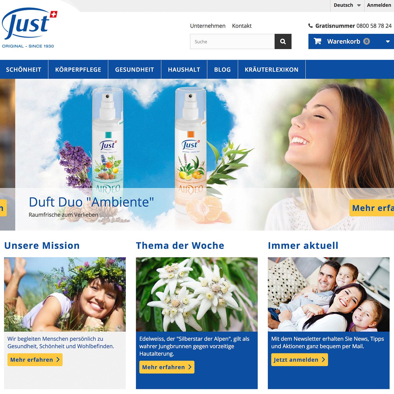 Just Schweiz AG, Webseite